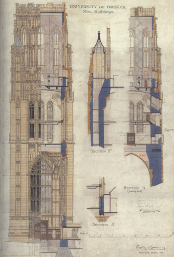Architectural drawing for the tower of the Wills' building, 1914. (Special Collections, University of Bristol).