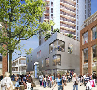 Computer-generated image of the Harvey Nichols shop at Cabot Circus.
