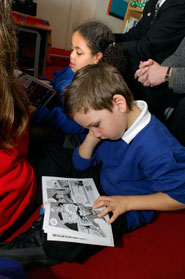 Readers at St George's Primary on launch day (Martin Chainey).