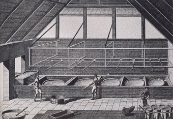 Boiling sugar, c 1750. Note the moulds in the foreground of this picture for shaping the sugar loafs.