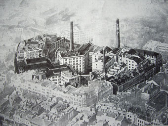 Aerial view of Fry's chocolate factory complex in the centre of Bristol in the early 1920s.