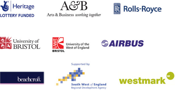 Logos of sponsors: Heritage Lottery Fund, Arts and Business, Rolls-Royce, University of Bristol, University of the West of England, Airbus, Beachcroft, SWRDA and Westmark