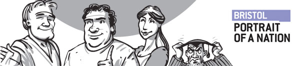 Characters from the comic with Portrait of a Nation - Bristol logo