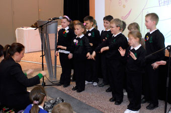 Pupils from Fair Furlong Primary perform their story about the unicorns of Bristol, written as part of the Portrait of a Nation project which is linked to the Great Reading Adventure. (Martin Chainey).